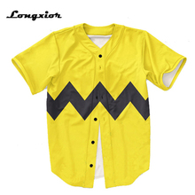 yellow Mens Buttons Homme Baseball Jersey  US size 3D black stripe Shirt Streetwear Tees Shirts Hip Hop MTS135