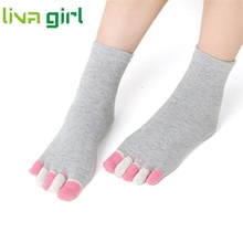 women socks deporte Cotton girl five fingers socks Massage gimnasio Non Slip grip female Toe Socks solid Heel thin deporte Jan16