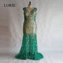 Bling Mermaid Prom Dresses 2018 Robe de soiree Rhinestones Emerald Green  Long Evening Gowns Women Formal Party Dress Plus Size 6310626f62b9