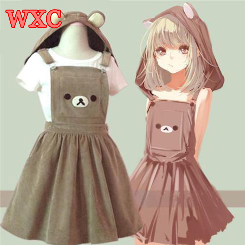 Bear Rilakkuma Straps Dress Lolita Braces Suspender Mori Girl Kawaii Dress School Clothes Vestido Ship From US Dropping Shipping formal wear
