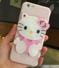 Coque Makeup Mirror TPU Silicone Soft Cover Cute Cartoon Hello Kitty Heart Camera Lanyard Phone Case For iPhone 6 6S 7 Plus