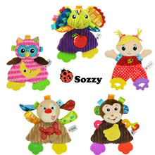 Sozzy Tooth Gum Appease Towel Baby Rattle Teether Animal Design Stuffed Plush Baby Pacify Toys