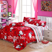 red hello kitty pattern printed children's bedding set cheaper comforter covers for full/queen size quilt/duvet bed in a bag set