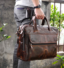 "Mens Genuine crazy horse  Leather Antique Style Briefcases Business 16"" Laptop Cases Attache Messenger Bags Tote 7146"