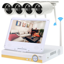 "4CH HD 720P Wireless NVR Kit CCTV System 10.1"" LCD with 4pcs 1.0MP Waterproof Outdoor Bullet IP Camera Support HDMI P2P Onvif(China)"