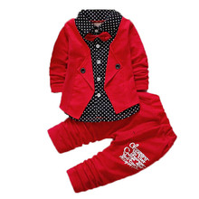 Retail 2017 Autumn Baby Boys Casual Long-sleeved Clothing Set Baby & Kids Fashion Plaid Jacket+Pant 2-piece Clothing Sets