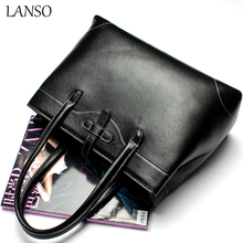 LANSO women's brand Imported Italian leather bag Ladies Handbag Top-Handle Bags Casual Totes Simple American Style Large Size(China)