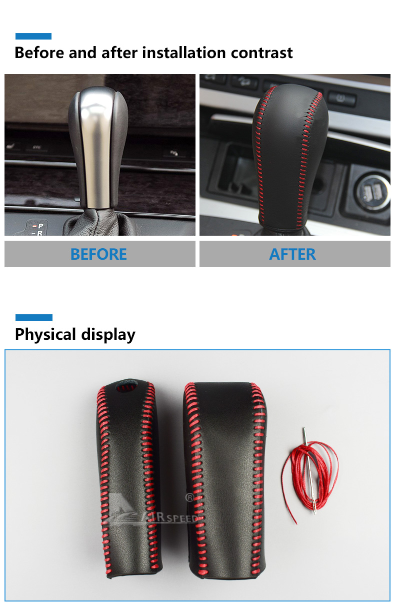Leather Car Gear Shift Lever Cover Handbrake Grips Sleeve for BMW E60 E90 X3 X5 Z4 6 Series Accessories Car Styling (3)