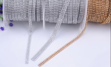 promotion!3mm 2rows 1 meter Crystal Clear Stones Silver Hot Fix Rhinestone Mesh Trimming Aluminium base Pasted Sew-on Net Drill(China)