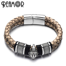 REAMOR 316l Stainless Steel Thailand Buddha Head Bracelets Bangles Brown Weave Leather Bracelet With Magnetic Clasp Men Jewelry(China)