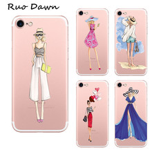 Ruo Dawn Beautiful Dress Shopping Girl Mobile Cover For iphone 7 / 7 Plus Soft Rubber Cartoon Phone Cases Clear Protection Coque