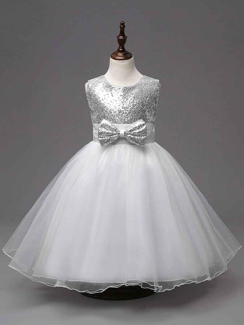 On sale knee length flower girl designer silver sequin white dress kids<br><br>Aliexpress