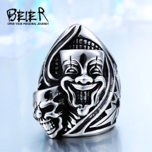 BEIER 316L Stainless Steel New Design Happiness and sadness Clown Skull Ring For Man Biker Jewelry BR-Q023(China)