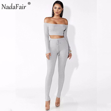 Nadafair Two Pieces Set Women Off Shoulder Long Sleeve Cropped Tops and Full Pants Sexy Club Wrap Jumpsuits