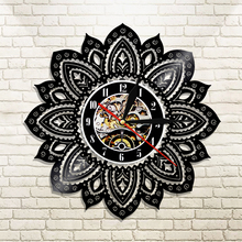 1Piece Lotus Shape 3D Silhouette LED Backlight Flower Vinyl Clock Modern Home Decorative Wall Clock Wall Art(China)