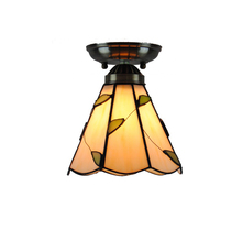 7 Inch Tiffany Vintage Flush Mount Stained Glass Ceiling Lamps E26/E27 Light Home Lighting For Balcony Living Room Bedroom CL244
