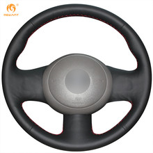 MEWANT Black Genuine Leather Car Steering Wheel Cover for Nissan March Sunny Versa 2013 Almera(China)