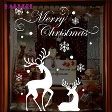 Christmas deer snowflakes wall stickers living room bedroom windows and wall stickers new style Decoration(China)