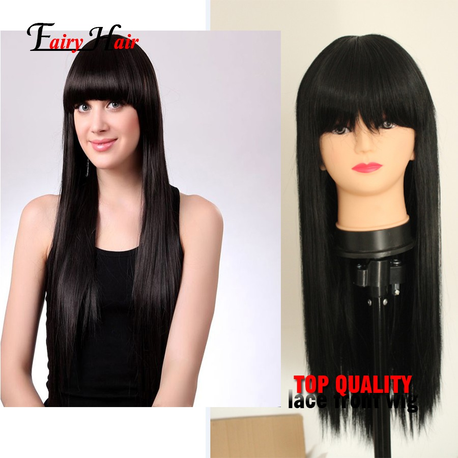 Heat Resistant Fiber Glueless Synthetic Lace Front Wigs Natural Black Straight Lace Front Wigs with Neat Bangs For Black Women<br><br>Aliexpress