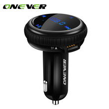 Onever FM Transmitter Modulator Bluetooth Car Kit Music Player Car APP GPS Location Tracking 2.1A Dual USB Car Charger adapter(China)