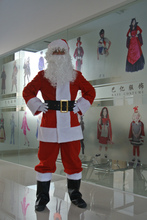Christmas Santa Claus Costumes Winter Thicken Fancy Cosplay Costumes For Christmas Party Clothing Set 10pcs Full Body Suit Adult(China)