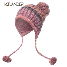 [HATLANDER]Women Bomber Hats Pompom Fleece Earflaps Cap Beanies Outdoor Double Warm Skullie Female Girls Ball knitted Winter Hat(China)