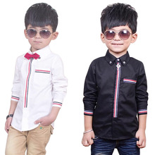 Boys Wedding Shirts with Bow Tie Gentle Kids Striped Formal Proms Wedding Dress Shirts