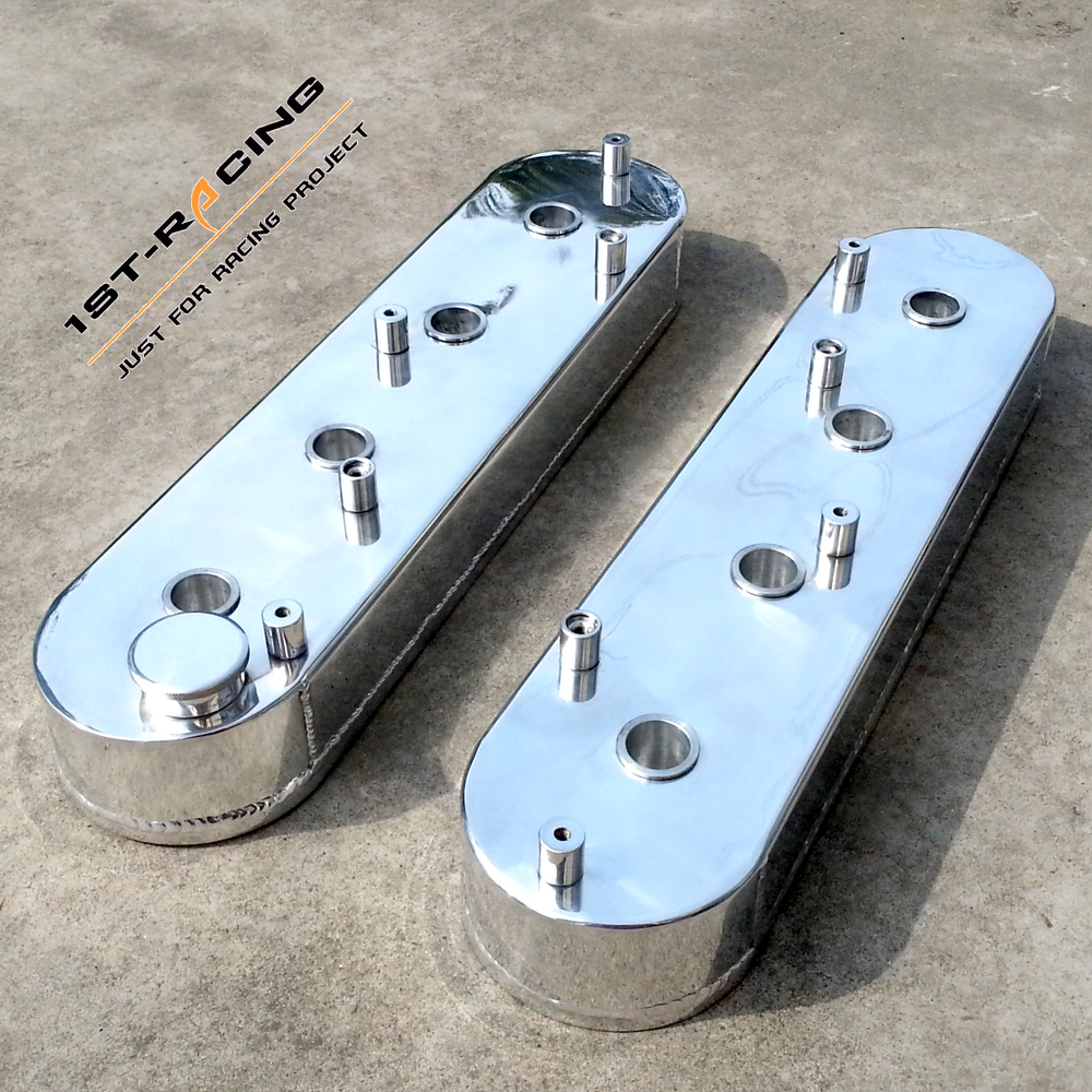 Chevy LS1 LS2 LS6 Fabricated Polish Aluminum Valve Covers Tall w// Coil Mounts