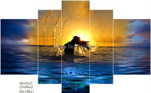 No frame Nude Beauty swim sunset canvas painting Modular picture on wall art decor