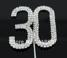 "Free Shipping Letter ""30"" Double Rows Rhinestone Diamante Monogram Cake Toppers For Wedding Decoration 1pcs"