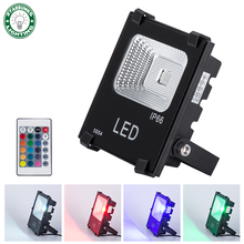 Lighting Outdoor RGB LED Flood Lights 10W 20W 50W Multi-colors Security Lights Halogen Bulb Equivalent with Remote(China)