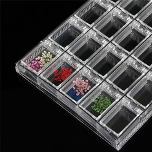 20 Grids Clear Acrylic Empty Storage Box Rhinestone Beads Jewelry Decoration Nail Art Display Removable Container Case