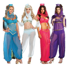 Hot!sexy Arabic dance costume sexy goddess GENIE Jasmine Aladdin Princess Costume Fancy Dress Arabian Belly Dancer Dress