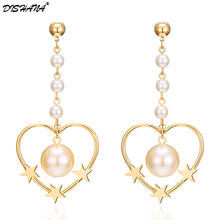Fashion Simulated Pearl Drop Earring for Women Heart Big Dangle Earrings Star Long Pendientes Grandes Gold-color Love Earing(China)