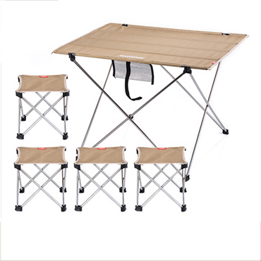 NH15Z012-S9 Khaki Large table and four folding chair Outdoor folding table Fishing leisure stool camping Combination packages<br><br>Aliexpress