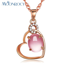 MOONROCY Free Shipping Jewelry Rose Gold Color Ross Quartz CZ Crystal Pink Opal Jewelry Necklace for Women Girls Choker Valentin(China)