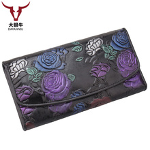 Hasp Fashion Dollar Price Long Purse Card HolderWomen Wallets Brand Design High Quality Genuine Leather Wallet Female(China)