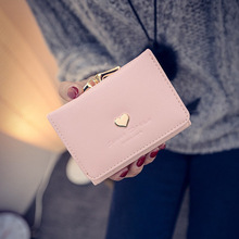 YOUYOU MOUSE New Sweet Heart Women Wallet Short Design PU Leather Coin Purse Bag Fashion PU Leather Money Wallet Card Holder