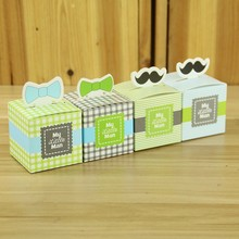 50pcs My little Man Cute Mustache Sail Celebration Birthday Boy Baby Shower Favor Boxes Gift Box Baptism Party Souvenirs