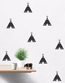 Cartoon Teepee Wall Decals, Removable Teepee Wall Stickers Kids Room Decor Free Shipping 40 pcs per lot