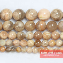 "Free Shipping Natural Peach Sunstone Round Loose Beads 16"" Strand 6 8 10MM Pick Size For Jewelry Making SSB01(China)"