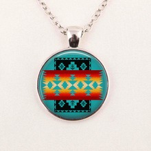 Wholesale Glass Dome Necklace Native American Jewelry Southwestern Necklace Glass Tile HZ1