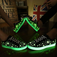 2016 New Arrival Fluorescent Shoes Light Up For Adults Women Fashion Leather Flat Lace-Up Glow In The Dark Shoes Size 35-44(China)