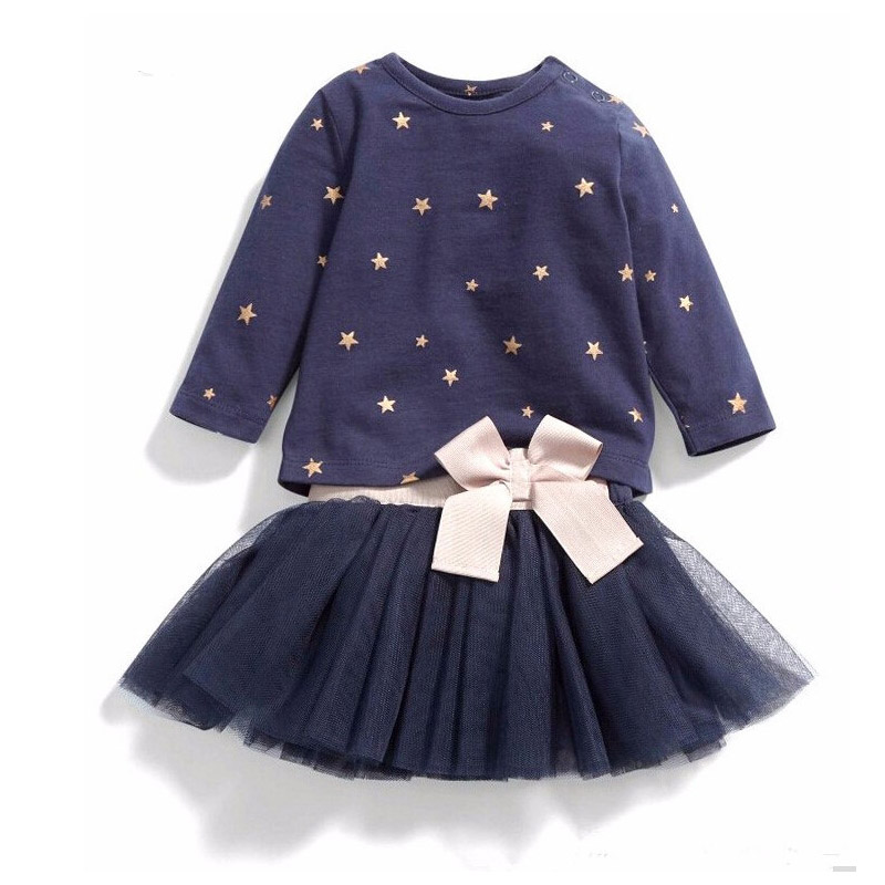 Baby Gril Clothes Sets Long Sleeved Bow Girls Cotton Tops T-shirt+TuTu Lace Skirt Childrens Skirt Suit Kids Clothes  Autumn<br>