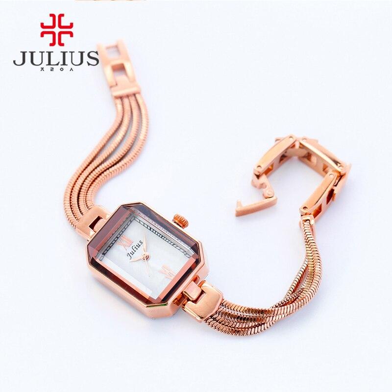 JULIUS Rectangle Latest Ladies Watches 7mm Ultra Thin Famous Brand Designer Watch Copper Bracelet Rose Gold Silver 2017 JA-716<br>
