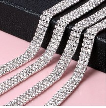 Free Shipping 1yard 3 rows 3mm Sew On Rhinestone Chain, Rhinestone Applique,Wedding Applique,Rhinestone Trim LSRT12184