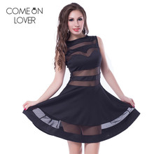 R78331 Comeonlover Hot selling fashion black dress young cute sleeveless skater dress vestidos summer style mesh party dresses(China)