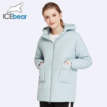 ICEbear 2017 Много Цветов Парки Для Женщин Осень и Весна Средней Длины Хлопка Ватник Тонкий Тонкий Пальто С  капюшоном 17G223D