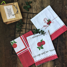 HAKOONA  50x70cm 1 Piece Apple Cherry Printed Table Napkins  Red Classic Plaid Placemats 100% Cotton Fabric Table Decoration