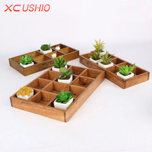 XC USHIO Multifunctional Retro Wooden Storage Box Creative Desktop Wood Box Organizer Jewelry Toys Potted Plants Container(China)